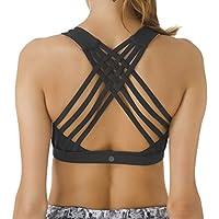 Queenie Ke Women's Medium Support Strappy Back Energy Sport Bra Cotton Feel