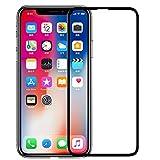 iPhone X 3d全面保護フィルム 液晶強化ガラス x ガラス 全面フルカバー【存在感ゼロ/画面鮮やか高精細/貼り付け簡単/本体の湾曲する端まで貼れる】ブラック (1枚入)