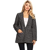 Ambiance Women's Button Down V-Neck Blazer Jacket