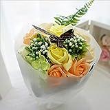 BIOフレグランスソープフラワー ミディローズブーケ ローズ9輪 定番商品 クリアバック・ギフトボックス付 お祝い 記念日 お見舞い バレンタインデー ホワイトデー 母の日   (オレンジ)