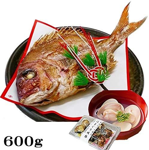 お食い初め 鯛 はまぐり セット 600g 山形県産 天然 真鯛 冷蔵 敷紙 飾り