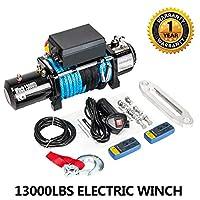 電動ウインチ 12V 13000ポンド リカバリーウインチ トレーラー トラック SUV ATV 合成ロープ ワイヤレスリモコンキット付き