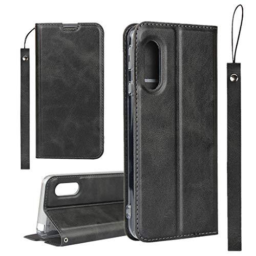 AQUOS Sense3 ケース SH-M12 SIMフリー SH-02M SHV45 ケース / アクオス Sense3 lite ケース SH-RM12 ケース / シャープ Android One S7 ワイモバイル ケース センス3 センス3 ライト アンドロイド ワン S7 対応 手帳 カバー case iCoverCase 内蔵マグネット カード入れ付き スタンド機能 軽量 スプラットホール付き スプラット同梱 落ち着いた ブラック