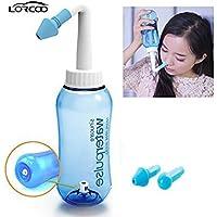 Lorcoo 鼻洗浄器 鼻腔洗浄器 成人 児童 ノーズシャワー ハナシャワー 鼻うがい 鼻炎 風邪 花粉症 アレルギー性鼻炎 蓄膿症などの予防や対策に ノズル 2個(鼻洗浄 スプレー) (300ML) (2)