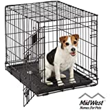 """Small Dog Crate   Midwest Life Stages 24"""" Folding Metal Dog Crate   Divider Panel, Floor Protecting Feet, Leak-Proof Dog Tray   24L x 18W x 21H Inches, Small Dog Breed"""