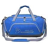 Mardingtop 軽量 スポーツ・ダッフル 体育バッグ トラベルバッグ 旅行週末 ショルダーバッグ スポーツバッグ (ブルー・グレー)