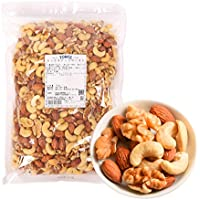 Tomiz Mixed Roasted Nuts 2.2 lb (1 kg), Plain Roast without Salt, No Additives, No Oil, Handy Zip Bag (Approximately 33% Almonds, 33% Cashew Nuts, and 33% Walnuts)