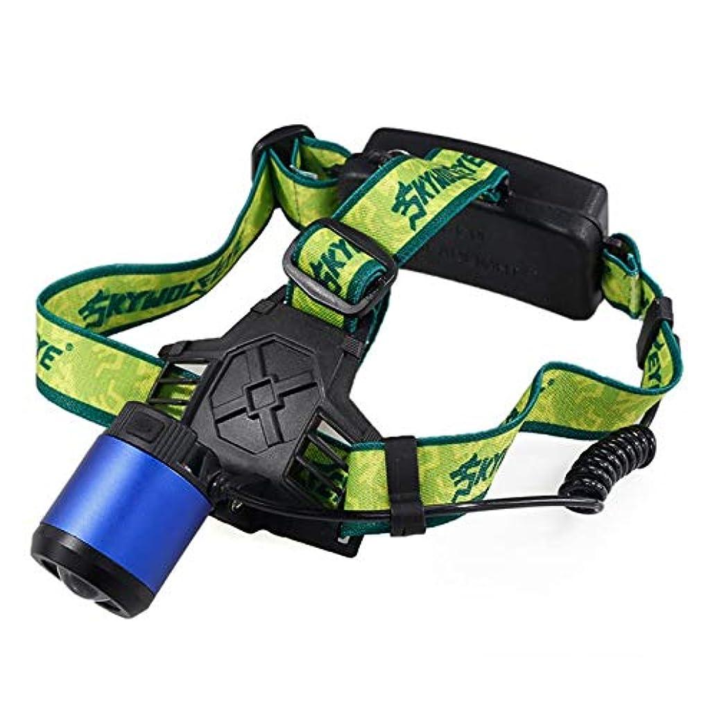 ケープ数学者現実ヘッドライト LEDヘッドランプ 高輝度 ズーム式 300ルーメン 3点灯モード USB充電式 防水 角度調節可能 防災 夜釣り 登山 工事作業用 電池なし ブルー DOMO