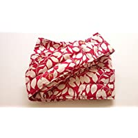 昔ながらのおんぶ紐 一本 紐 サイズM(長さ約4m・幅約11cm)red leaf 柄 通気性抜群 日本製 綿100%
