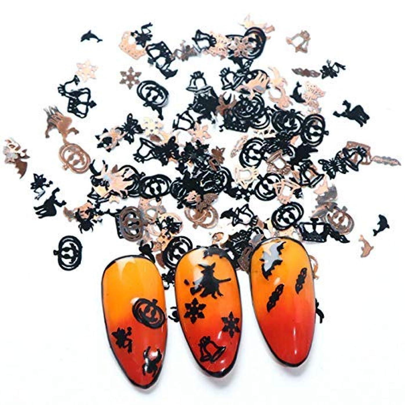 引退する増幅器煙ハロウィーンのテーマネイルアートフレークネイルアートスパンコールネイルアートデコレーション魔女コウモリカボチャゴールド/ブラックカラー