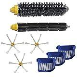 LOVE(TM)For robotのルンバ600 610 620 625 630 650 660掃除機の部品のための新しいHEPAフィルターサイドブラシ毛と柔軟なビーターブラシ