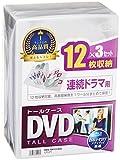 サンワサプライ DVDトールケース 12枚収納×3 クリア DVD-TW12-03C
