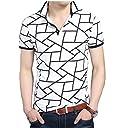 (Make 2 Be) メンズ ポロシャツ柄 半袖 カジュアル シャツ ゴルフ ウェア MF46 (03.Black_2XL)