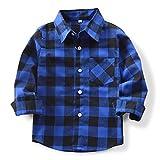 (オチェーンタ)OCHENTA 子供用 ボーイズ ガールズ 男の子 女の子 長袖 チェック柄 カジュアル シャツ キッズシャツ チェックシャツ ワイシャツ Yシャツ E005 ブルーブラック 100CM