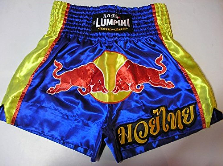 ?代引可?新品 サテン 03 LUMPINI ボクシングパンツ 青赤牛