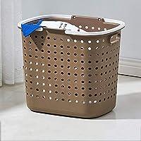 ZZHF xiyilan ストレージバスケットハンパー衣類ストレージバスケットプラスチックランドリーバスケットバスルームバケットホーム バスケット (色 : Brown)