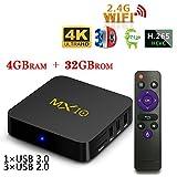 ストリーミングメディアプレーヤー,MX10TV Box Android 7.1 TVボックス4GB + 32GB、スマートTVボックスサポート2.4G Wi-Fi接続64ビッ..