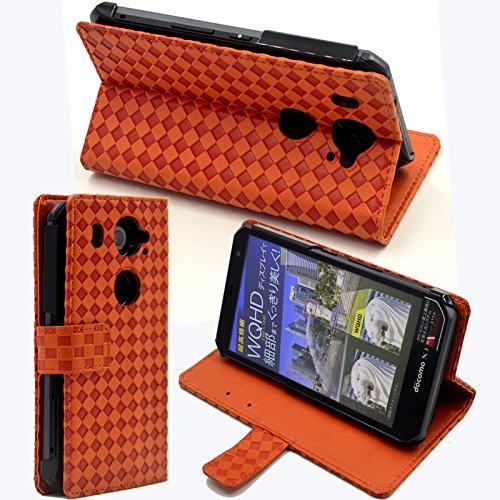 【F.G.S】オレンジ【全5色】 docomo Fujitsu ARROWS NX F-02G ケース カバー 手帳型 PUレザー素材 スタンド機能付き F.G.S正規代理品