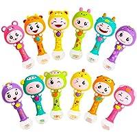 Zeroyoyo赤ちゃんMusical Rattles Toy Kids Hand Bellダイナミックリズムスティック動物Shaker砂ハンマー教育Developmentalトイ