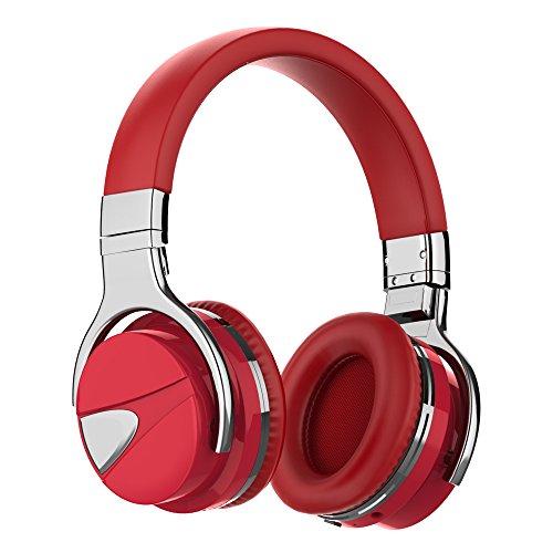 WMSJP ワイヤレスヘッドホン ノイズキャンセリング機能搭載 密閉型 高音質 マイク内臓 ハイレゾ/Bluetooth/NFC/有線接続対応 最大36時間連続再生(レッド)