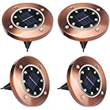 Solar Outdoor Lights Jardin 8 LEDs, ALED LIGHT 4 Pcs IP65 Waterproof LED Spotlights Exterior Solar Luce de Tierra Floor Lamp Garden Lighting for Yard Landscape Driveway Lawn Pathwa Road [Energy efficiency class A]