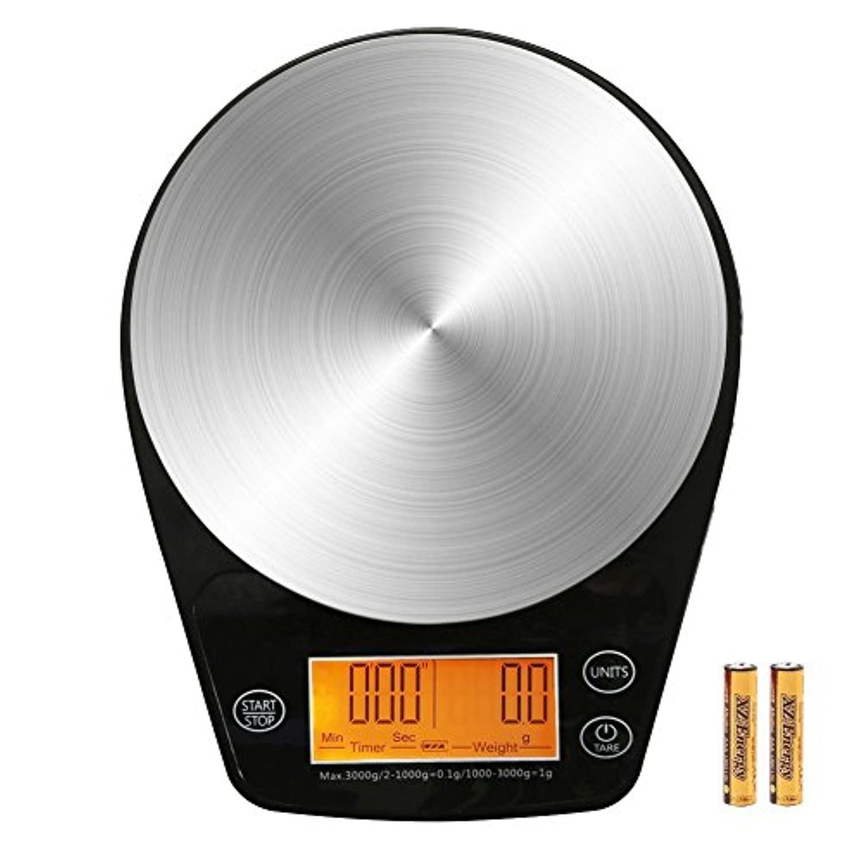 ERAVSOWデジタル コーヒー スケール、タイミング機能及び計量機能を含むステンレス鋼精密センサー キッチン 多用途電子秤,LCDディスプレイ>最大負荷3kg >電池付属
