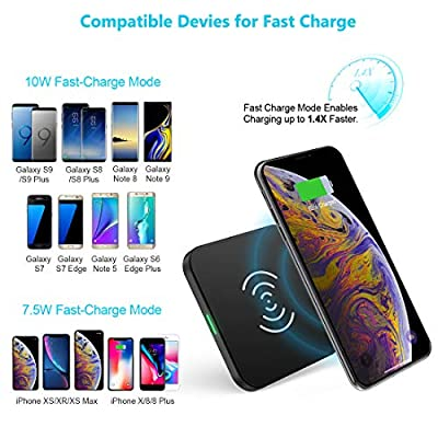 Fast Wireless Charger, CHOETECH Qi-Certified Fast Wireless Charging Pad 7.5W Fast Charging for iPhone XS/XS Max/XR/X/8 Plus/8, 10W Fast Charge for Samsung Galaxy Note 9/8/S9/S9 Plus/S8/S8 Plus, etc