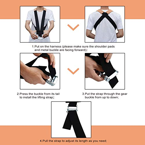 Coitak Moving Straps, Lifting Straps, 2 People Lifting Strap for Weight Lifting, Rated for Items up to 600 lbs, Make Safely Efficiently for Move, Lift, Secure Furniture Appliances, Heavy Objects