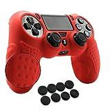 Amazon.co.jpCHINFAI PS4コントローラート用 滑りとめ シリコン ソフトスキンケース 耐衝撃保護カバー x 1+スティックカバー x 8(赤)