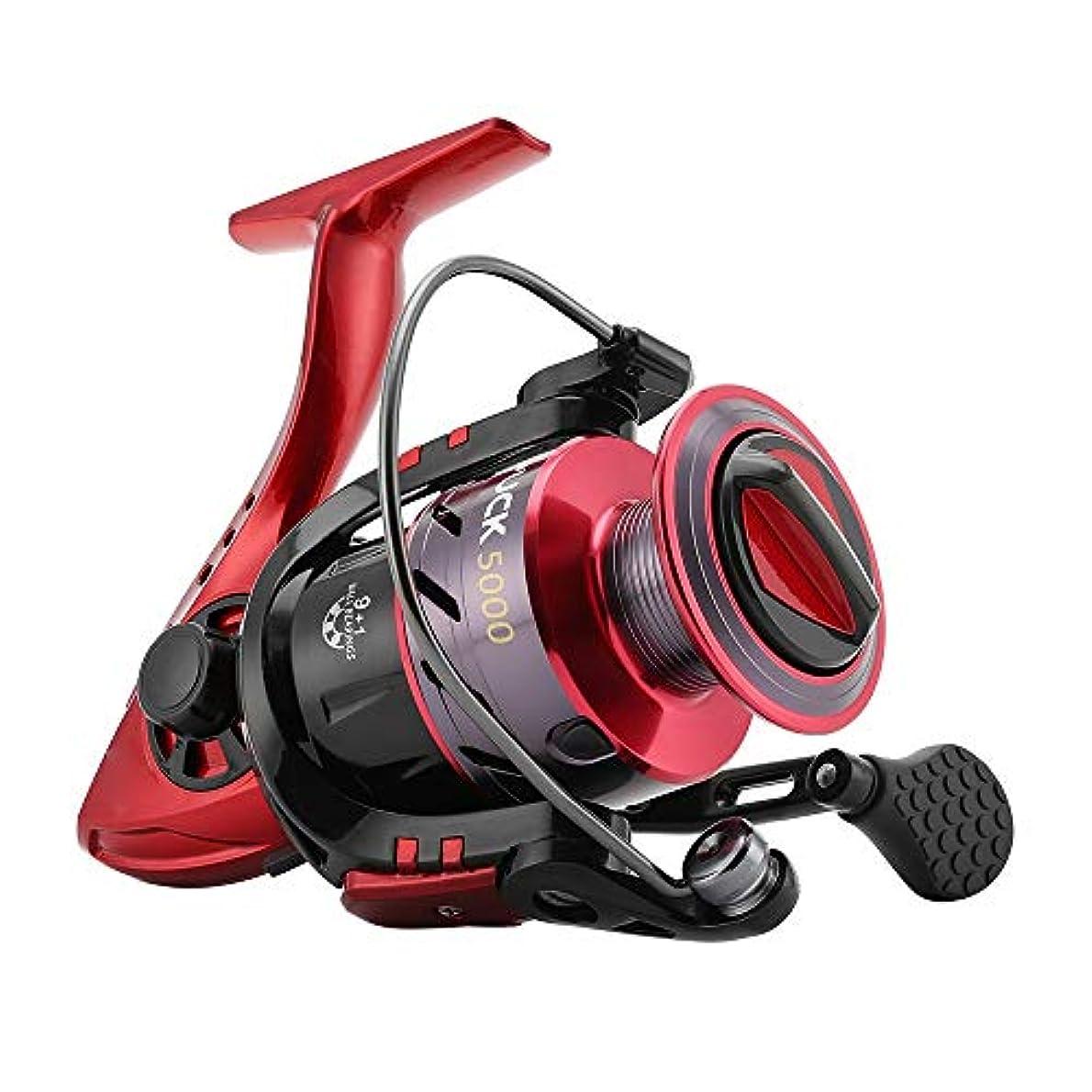 理解篭リテラシー釣り リール スピニングリールの高強度プラスチックフレームベアリングスムーズ強力な釣りリールスピニング5.2:1つのギア比リール 携帯便利 軽量 (Color : Red, Size : 5000)