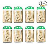 (8 Holders) - Toothpick Dispenser Set - Pack of 8 Toothpick Holders with 1200 Ct Natural Bamboo Round Toothpicks (8 Holders)