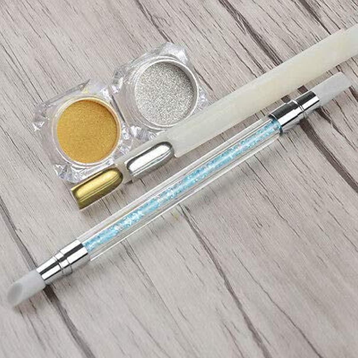 ゆり未来パトロンFidgetGear 1g / boxシャイニングネイルアートミラーグリッターパウダー付き彫刻ブラシマニキュアdiy 銀