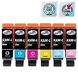 【Amazon.co.jp限定】 エプソン 純正 互換インクカートリッジ KAM-6CL-L 互換インク EPSON KAM 6色セット 大容量タイプ 汎用 (目印:カメ)【Kingway】