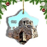 Weekinoトルコビザンチン城アンタルヤアラニヤクリスマスオーナメントクリスマスツリーペンダントデコレーション旅行お土産コレクション陶器両面デザイン3インチ