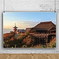 Qinunipoto ビニール 3x2m 清水寺 京都の日没の風景で 写真の背景 写真撮影の背景 背景布 背景幕 ポートレート スタジオ ブース小道具 子供やペットの写真撮影用 休暇 写真 赤いカエデの葉 山の風景 秋の風景