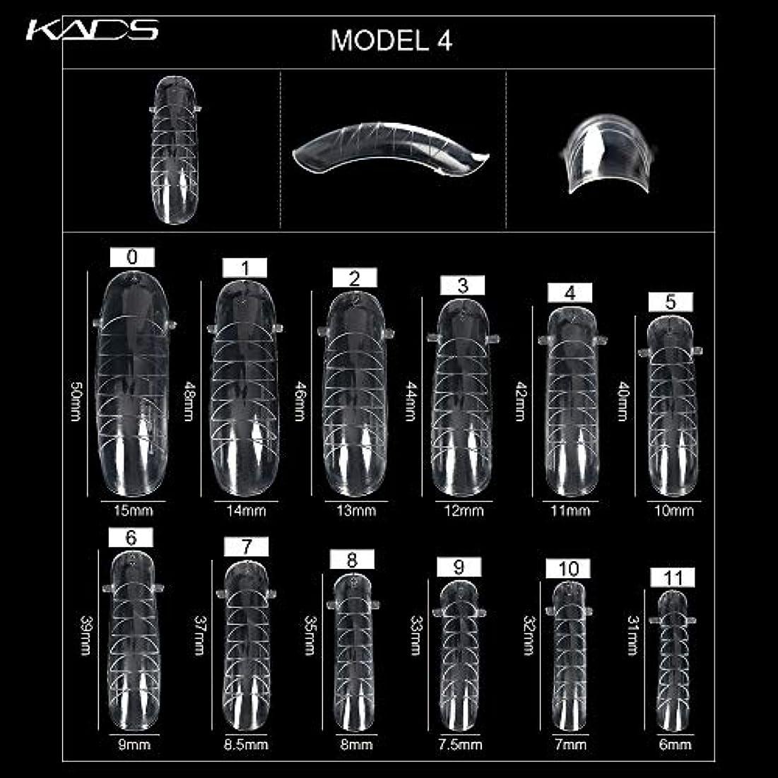 感じるリンケージ階下KADS ネイルチップ 12サイズ/10PCS デュアルネイルフォーム UVジェルアクリルネイルアート 無地 透明 (サイズ4)