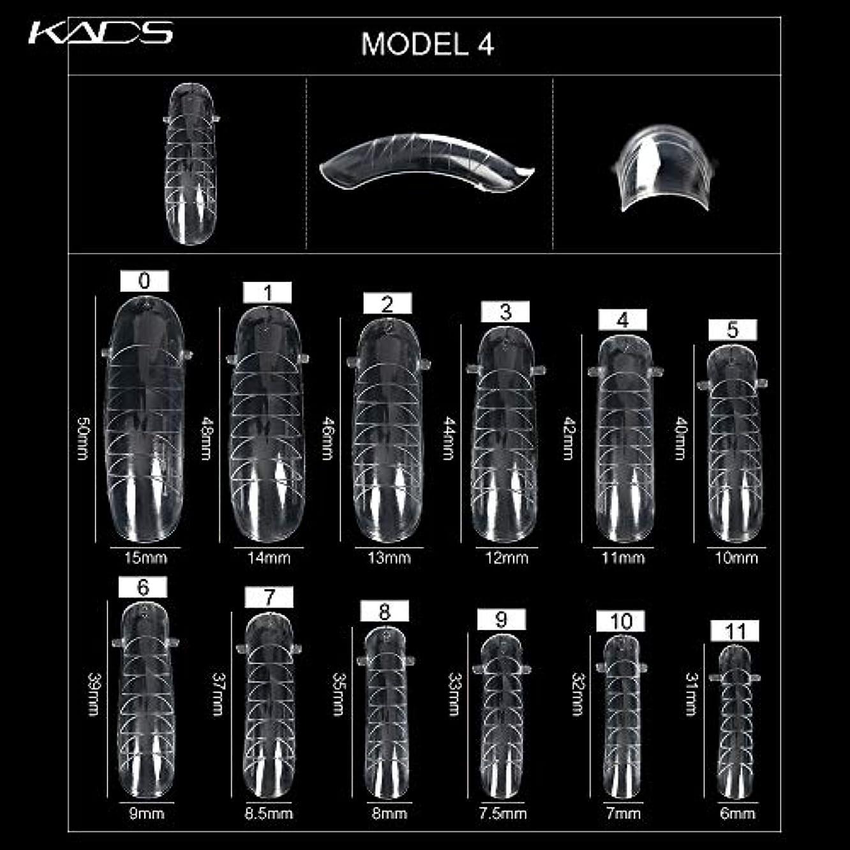 縮約有益な商人KADS ネイルチップ 12サイズ/10PCS デュアルネイルフォーム UVジェルアクリルネイルアート 無地 透明 (サイズ4)