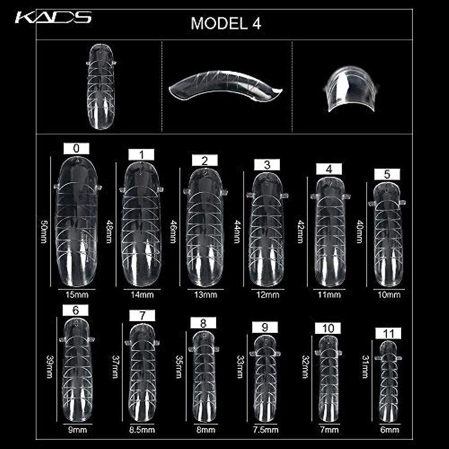 所有権それにもかかわらず浸食KADS ネイルチップ 12サイズ/10PCS デュアルネイルフォーム UVジェルアクリルネイルアート 無地 透明 (サイズ4)