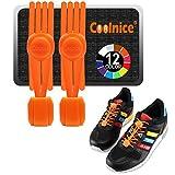 coolnice「クーナイス」新製品 結ばない靴ひも 汎用タイプ(12色展開) シリコン製 一本ごとに90cmの長さ 調整自由 伸びるくつひも 便利 防水 汚れない靴紐 調整用クリップ付き 解けない シューレース 一足分