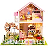 Spilay Dollhouse DIY Miniature Wooden Furniture Kit,Mini Handmade Villa Craft Model Plus with LED & Music Box,1:24 Scale Creative Doll House Toys for Teens Adult (Sakura Love)