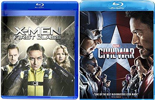 Captain America Civil War & X-Men Days of First Class Blu Ray Marvel Hero Set