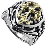 KONOV ジュエリー ファッション アクセサリー メンズ リング 指輪, アンティーク風 ケルト クロス 十字架, ステンレス, カラー:ゴールド(金); シルバー(銀);[ギフトバッグを提供]