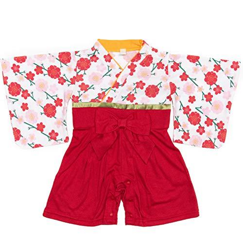 [キョウエツ] ロンパース 袴風 女の子 ベビー服 カバーオール ベビー (80, 梅 オフホワイト)