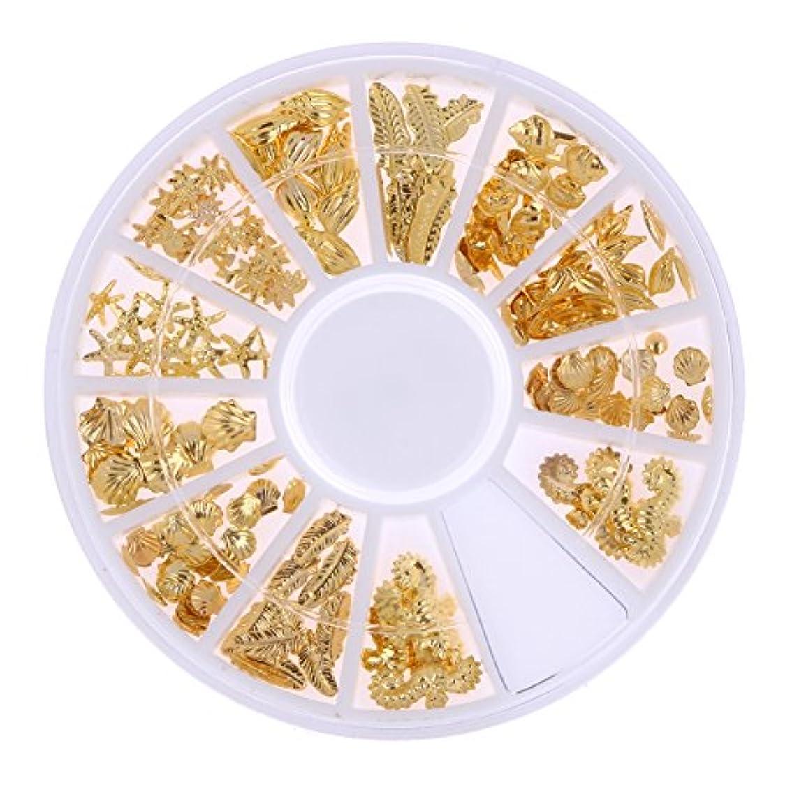 パブ馬力ベテランDemiawaking ネイルパーツ メタル ネイルアート ゴールド 海テーマ(貝殻/海馬/海星) 12種類 DIY ネイルデコレーション ラウンドケース入 1個