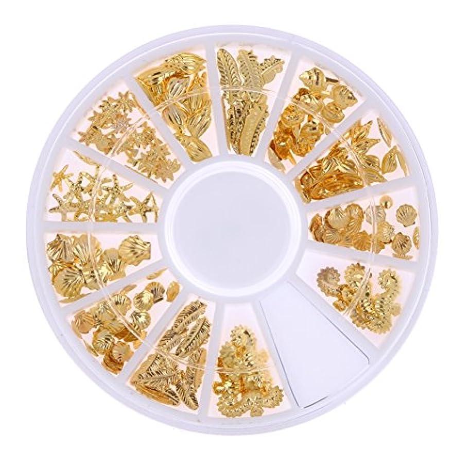 Demiawaking ネイルパーツ メタル ネイルアート ゴールド 海テーマ(貝殻/海馬/海星) 12種類 DIY ネイルデコレーション ラウンドケース入 1個