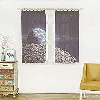 UVカット レースカーテン お部屋が明るい!でもしっかり UVカット 外から見えにくい 幅150x丈100m 2枚入 銀河、月面から見た地球の月面月面衛星宇宙監視プロジェクト、グレーダークブルー