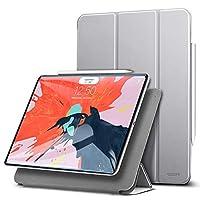 ESR iPad Pro 12.9 2018 ケース 2018モデル Apple Pencilペアリングとワイヤレス充電機能対応 マグネットス吸着式 オートスリープ機能 スリム 軽量 シルク手触り 高級感 iPad Pro 12.9インチ 2018年版専用(グレー)