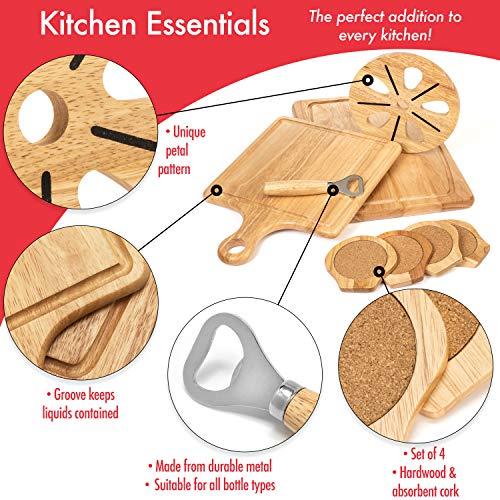 『Best Kitchen Essentials まな板 厚手木製ブロック チョッピングカービングボード 1台 竹製チーズボードオーガナイザー 木製コースター4枚 栓抜き1つ 大型マット1つ 鍋つかみギフトセット』の1枚目の画像