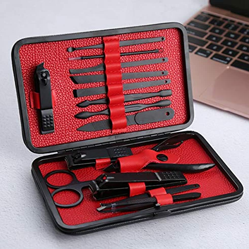 もの欠席認証SUIWO 爪切りセット ツールクリッパーズの15個を設定マニキュアセット、FMNEUステンレススチールプロフェッショナルペディキュアキットネイルはさみグルーミングハイグレード (色 : レッド)