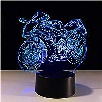 Wxmca 3DオートバイLedナイトライトカラー可変テーブルランプメタクリレートプレート子供常夜灯